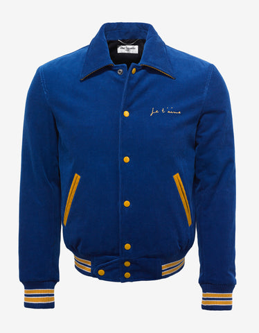 Saint Laurent Blue Corduroy 'Je T'aime' Teddy Jacket