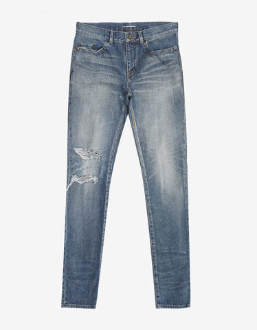 Saint Laurent Blue D02 Destroyed Skinny Jeans