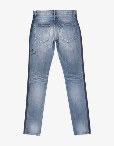 Saint Laurent Blue D02 Side Stripe Skinny Denim Jeans