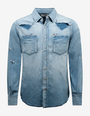 Blue Destroyed Denim Western Shirt