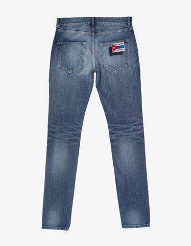 Saint Laurent Blue Stonewash Logo Patch Skinny Denim Jeans