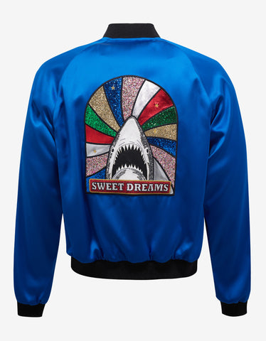 Saint Laurent Blue Satin 'Sweet Dreams' Teddy Jacket