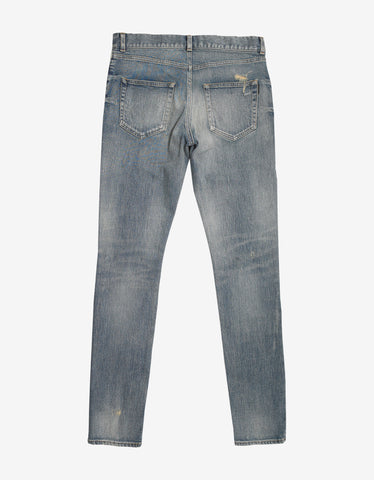 Saint Laurent Blue Washed Distressed Skinny Jeans