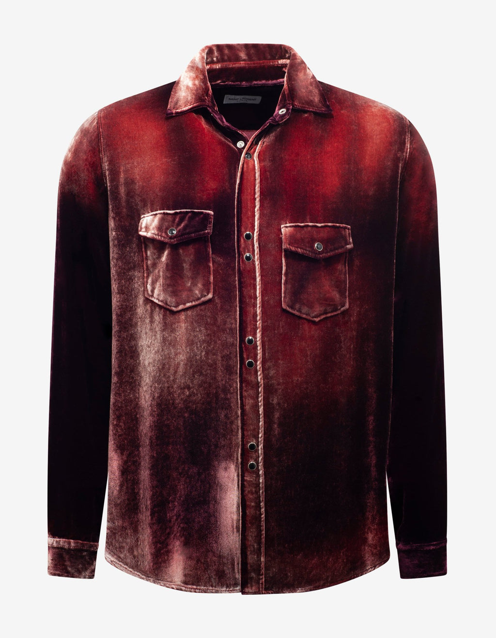 Burgundy Devoré Velvet Oversized Shirt -