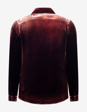 Burgundy Devoré Velvet Oversized Shirt