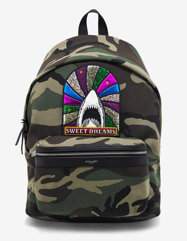 Saint Laurent Camouflage Print 'Sweet Dreams' Patch Backpack