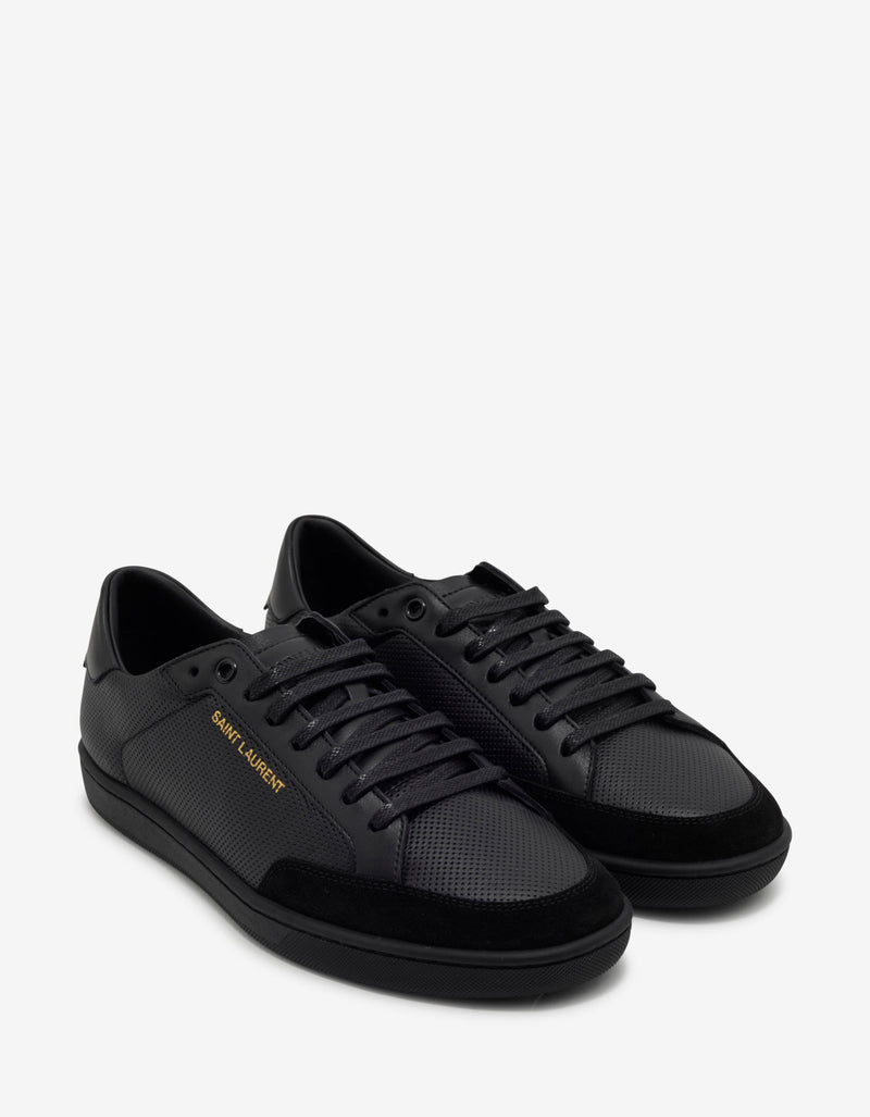 Court Classic SL/10 Black Perforated Leather Trainers