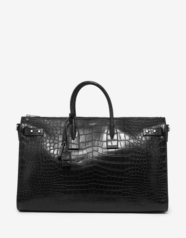 Saint Laurent Black Croc Embossed 48-Hour Duffle Bag