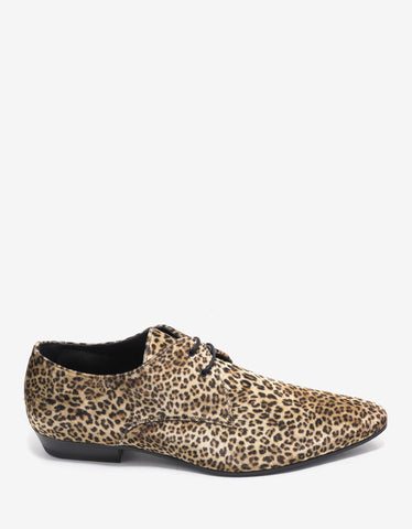 Saint Laurent Devon 25 Leopard Print Velvet Derby Shoes