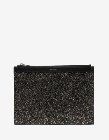 Saint Laurent Glitter Embellished Tablet Holder