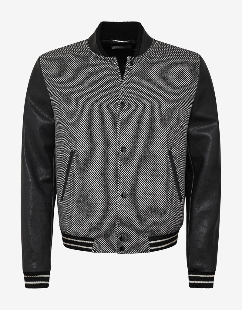 Checkered Wool Varsity Jacket with Leather Sleeves