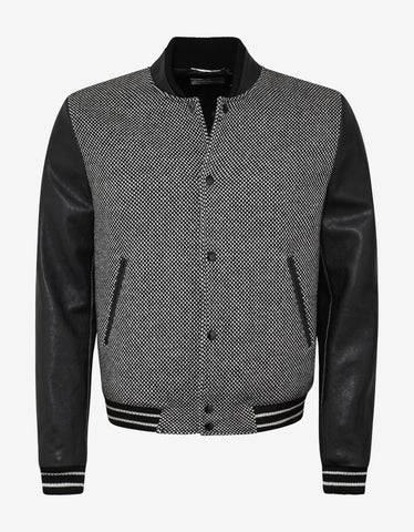 Saint Laurent Checkered Wool Varsity Jacket with Leather Sleeves