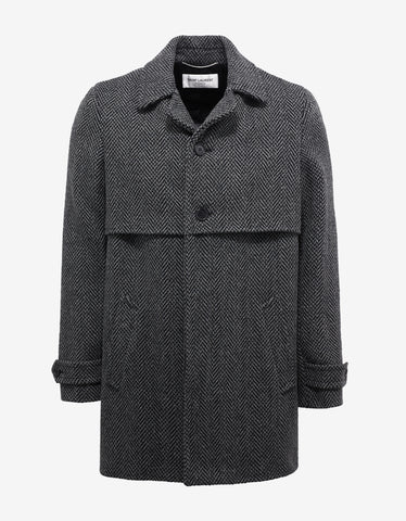Saint Laurent Grey & Black Chevron Wool Coat