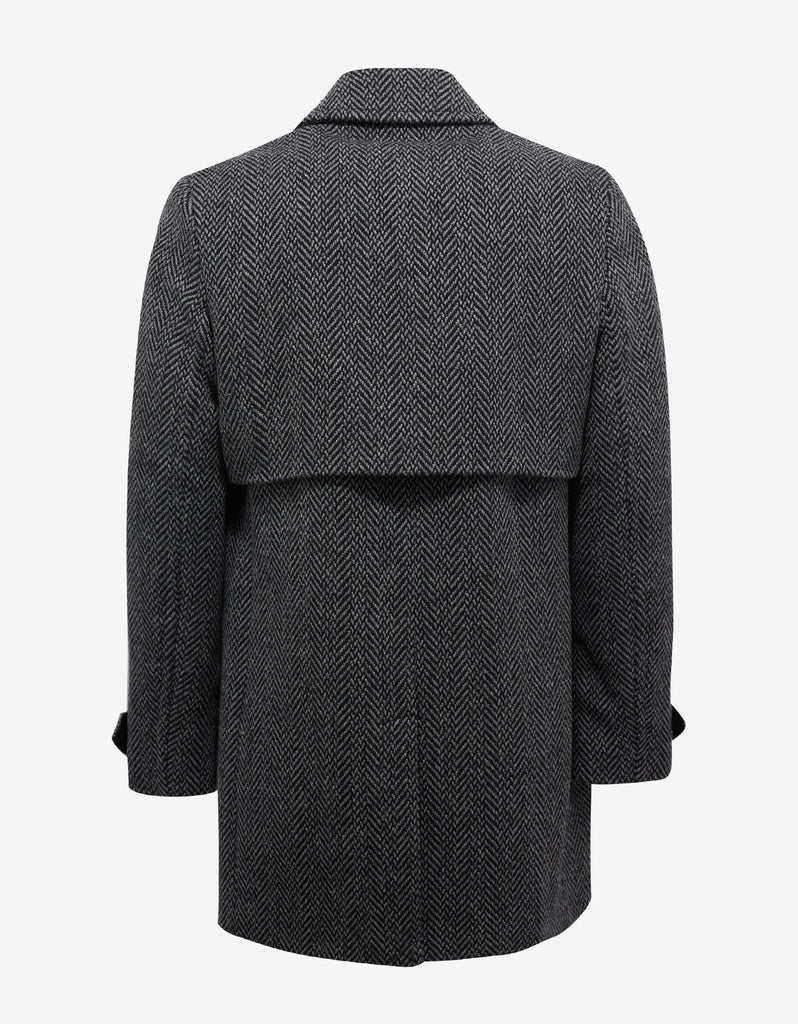 Grey & Black Chevron Wool Coat