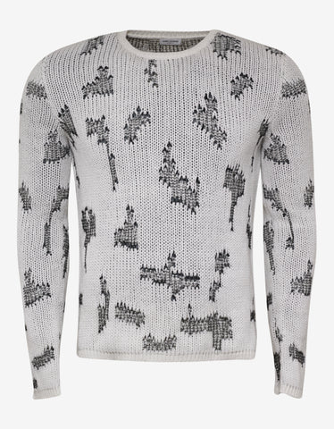 Saint Laurent Ivory Cashmere Sweater with Resewn Inserts