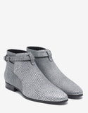 Jodhpur Silver Textured Leather Ankle Boots