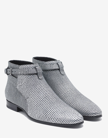 Saint Laurent Jodhpur Silver Textured Leather Ankle Boots