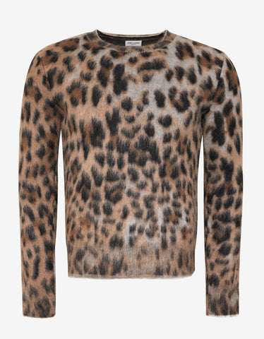 Saint Laurent Leopard Print Mohair Mix Sweater