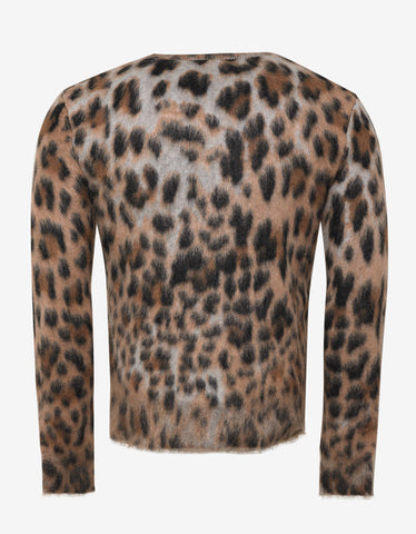 e767eba44c4 ... Saint Laurent Leopard Print Mohair Mix Sweater
