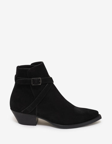 Saint Laurent Lukas 40 Buckle Suede Leather Jodhpur Boots