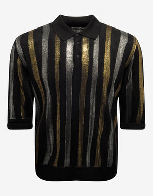 Metallic Stripe Linen-Blend Polo T-Shirt