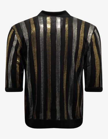 Saint Laurent Metallic Stripe Linen-Blend Polo T-Shirt