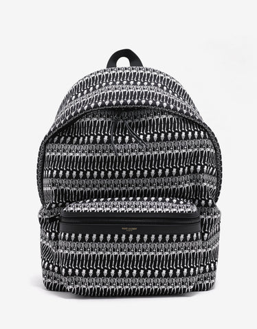 Saint Laurent Black Skeleton Print City Backpack