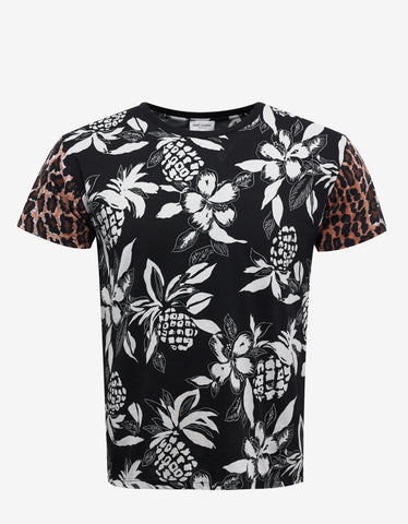Black Hawaii & Leopard Print T-Shirt