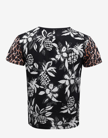 Saint Laurent Black Hawaii & Leopard Print T-Shirt