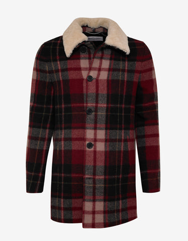 Saint Laurent Red Check Trapper Jacket with Shearling Collar