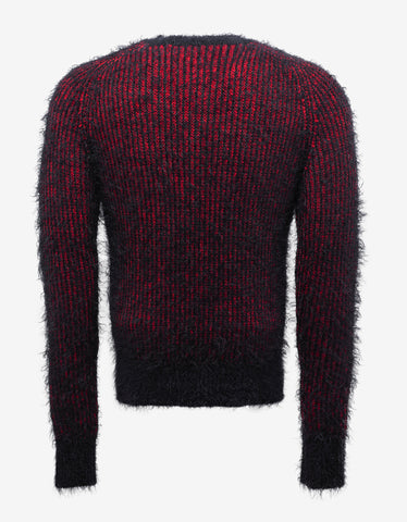Saint Laurent Red & Black Wool Blend Grunge Sweater