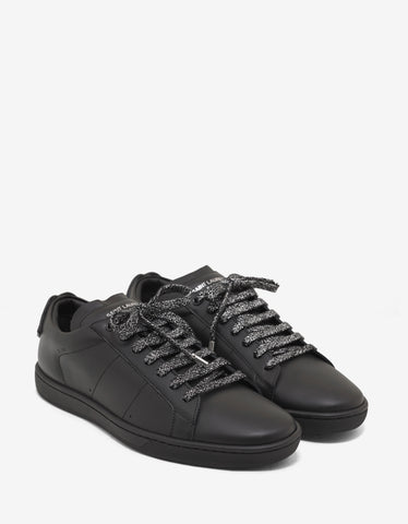 Saint Laurent SL/01 Lips Appliqué Black Leather Trainers