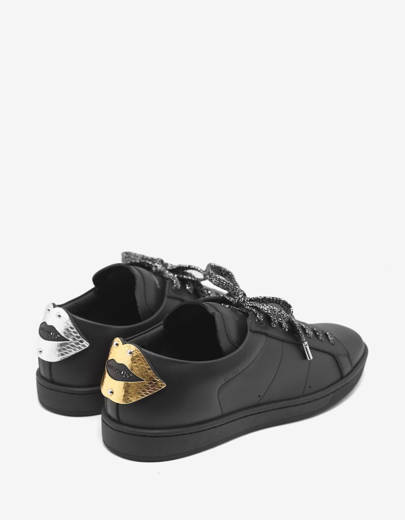 SL/01 Lips Appliqué Black Leather Trainers