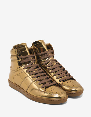Saint Laurent SL/10H Metallic Gold Leather High Top Trainers