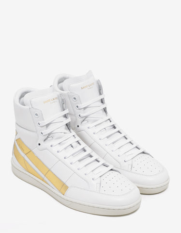 Saint Laurent SL/36H High Top Trainers with Gold Star