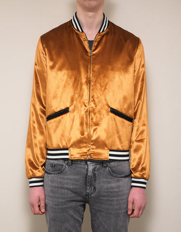 Saint Laurent Bronze Velvet Varsity Jacket