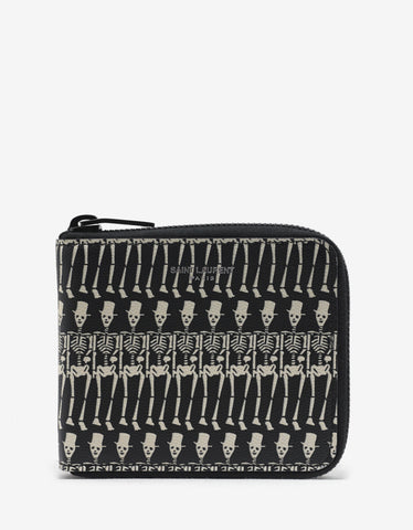 Saint Laurent Skeleton Print Zip Wallet