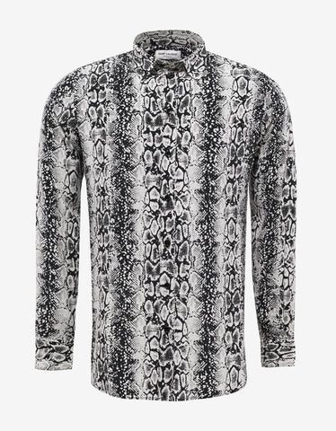 Saint Laurent Snake Print Silk Shirt
