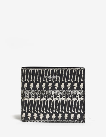 Saint Laurent Black Leather Skeleton Print Wallet