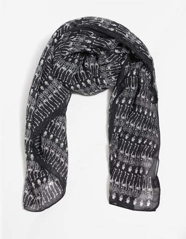 Saint Laurent Black Cashmere Blend Skeleton Print Scarf