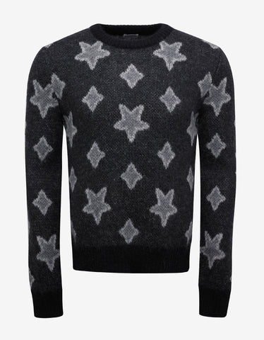 Saint Laurent Grey Star Print Mohair Sweater