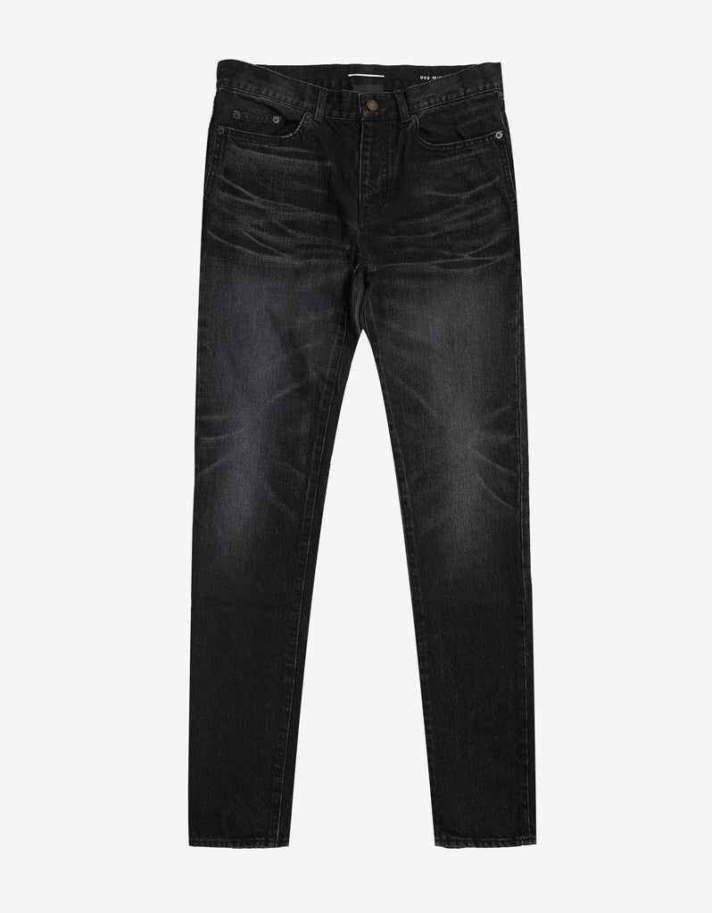 Black D02 Washed Slim Jeans
