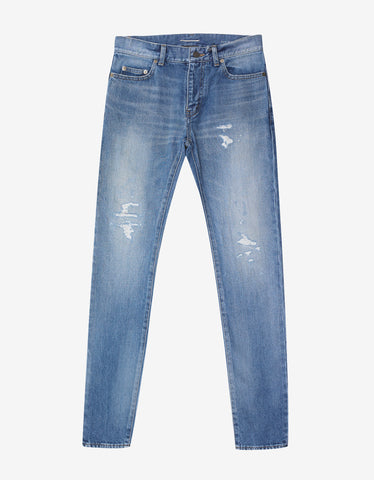 Blue D02 Repaired Rip Skinny Jeans