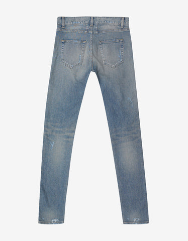 Blue D02 Skinny Destroyed Denim Jeans