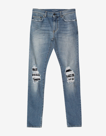 Blue D02 Studded Leather Patch Destroyed Jeans