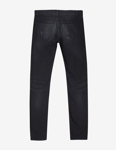 Overdyed Black D02 Repaired Rip Skinny Jeans