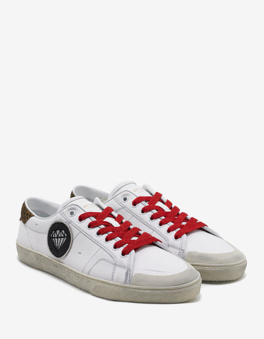 SL/37 Surf Diamond Patch Distressed White Trainers
