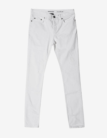Saint Laurent White D10 White Distressed Skinny Jeans