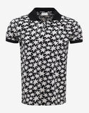Black All-Over Star Print Polo T-Shirt
