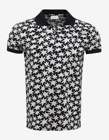 Saint Laurent Black All-Over Star Print Polo T-Shirt